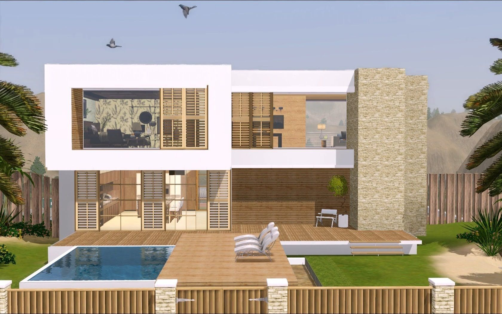 The sims 3 modern hollywood house 1080p thai for Pool design sims 3