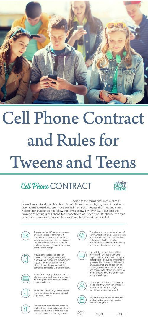 Quick And Easy Cell Phone Contract And Rules For Teens. #teens #tweens #parenting #printable #freeprintable #cellphonecontract #technology #kids #cellphones #contract #printablecellphonecontract via @sunshineandhurricanes