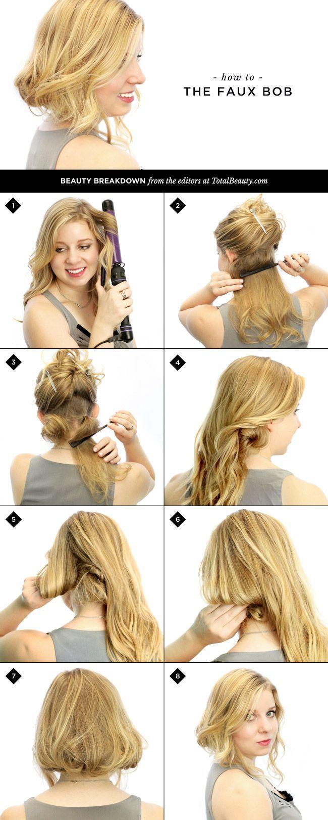 How To Make Long Hair Short Faux Bob Hair Tutorials Pretty Designs Lange Haare Kurzhaarfrisuren Frisur Hochzeit
