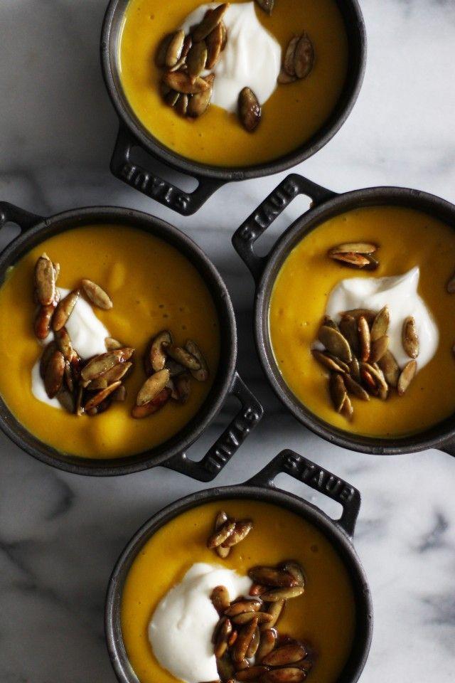 Thanksgiving Kabocha Squash Soup with Candied Pepitas  | HonestlyYUM