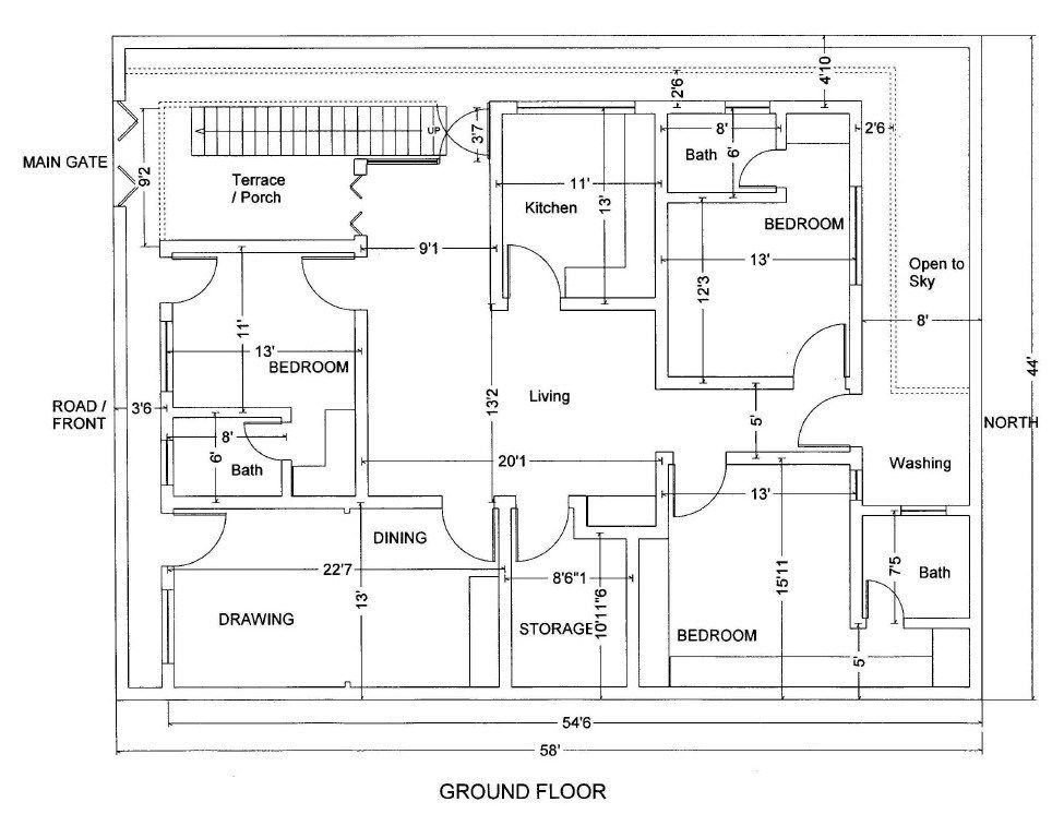 10 5 Marla House Map 10 Marla House Plan Indian House Plans