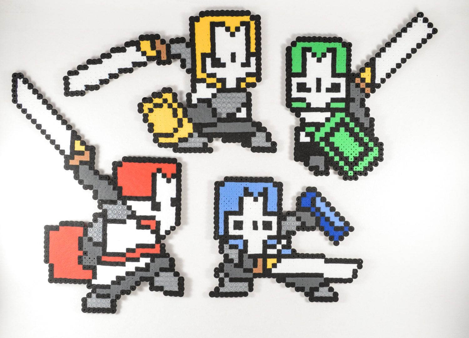 Castle Crashers Perler Bead Sprites // Castle Crashers Magnets // Castle Crashers Pixel Art by NostalgiaPerler on Etsy
