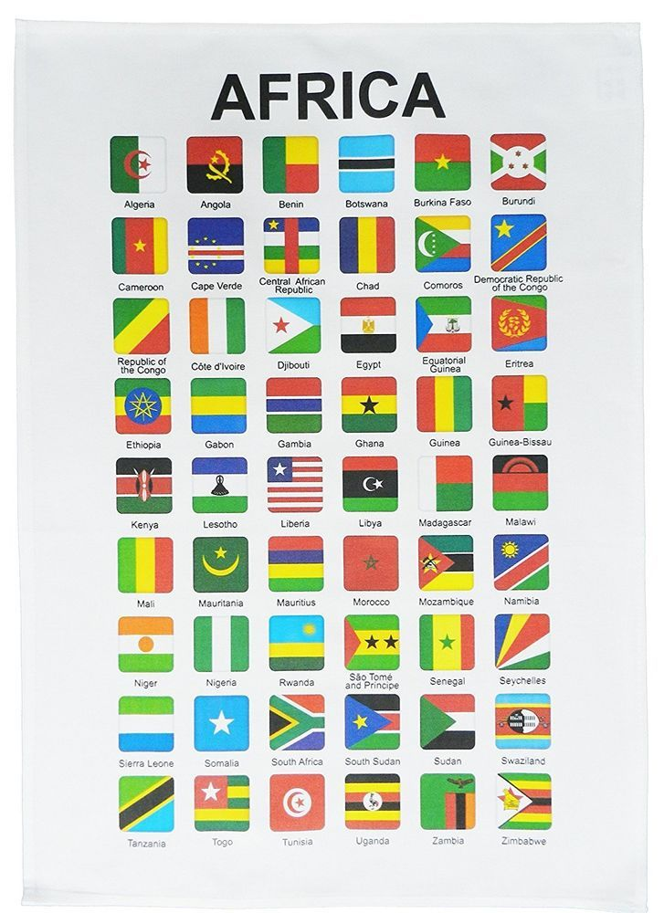 All The Flags Of The World And Their Names Flags Of Africa Large Cotton Tea Towel By Half A Donkey Halfadonkey World Country Flags Africa Flag All World Flags