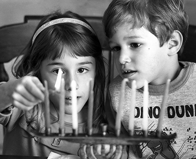 Photographer Richard R. Barron » Jewish Children Light a Menorah ...