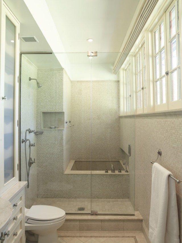 kleines bad wanne dusche kombintion glaswand tür beige fliesen ... - Bad Einrichten Beige