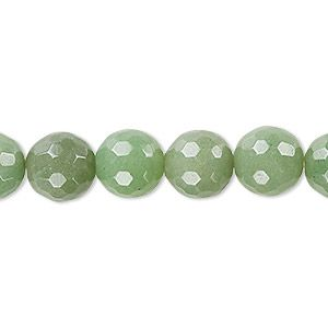 """Bead, green aventurine (natural), light to medium, 10mm faceted round, B grade, Mohs hardness 7. Sold per 15-1/2"""" to 16"""" strand."""