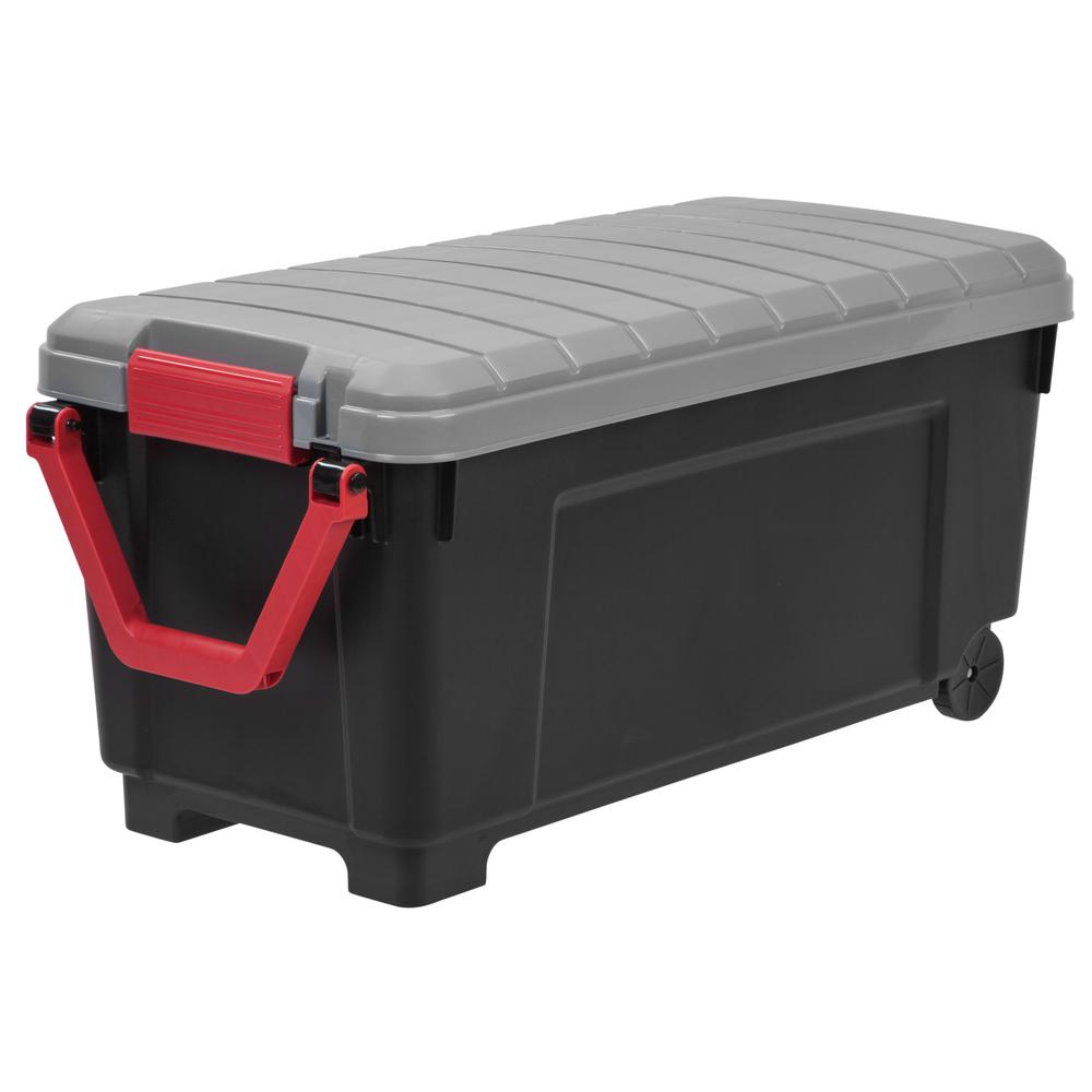 169 Qt Store It All Tote Storage Bin In Black Storage Tote Storage Rolling Storage