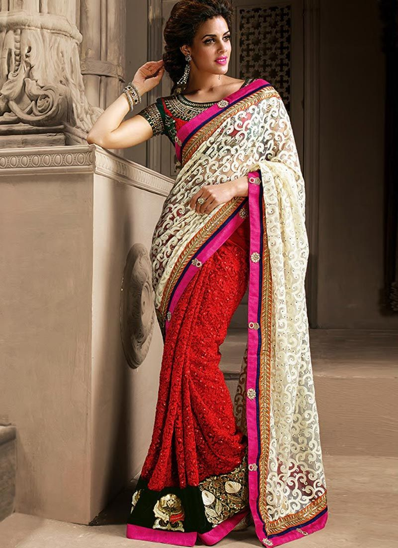 Off White and Red Brasso and Net Designer Saree www.ethnicoutfits.com Product Code : (4760) Email : support@ethnicoutfits.com What's app : +918141377746 Call : +918140714515