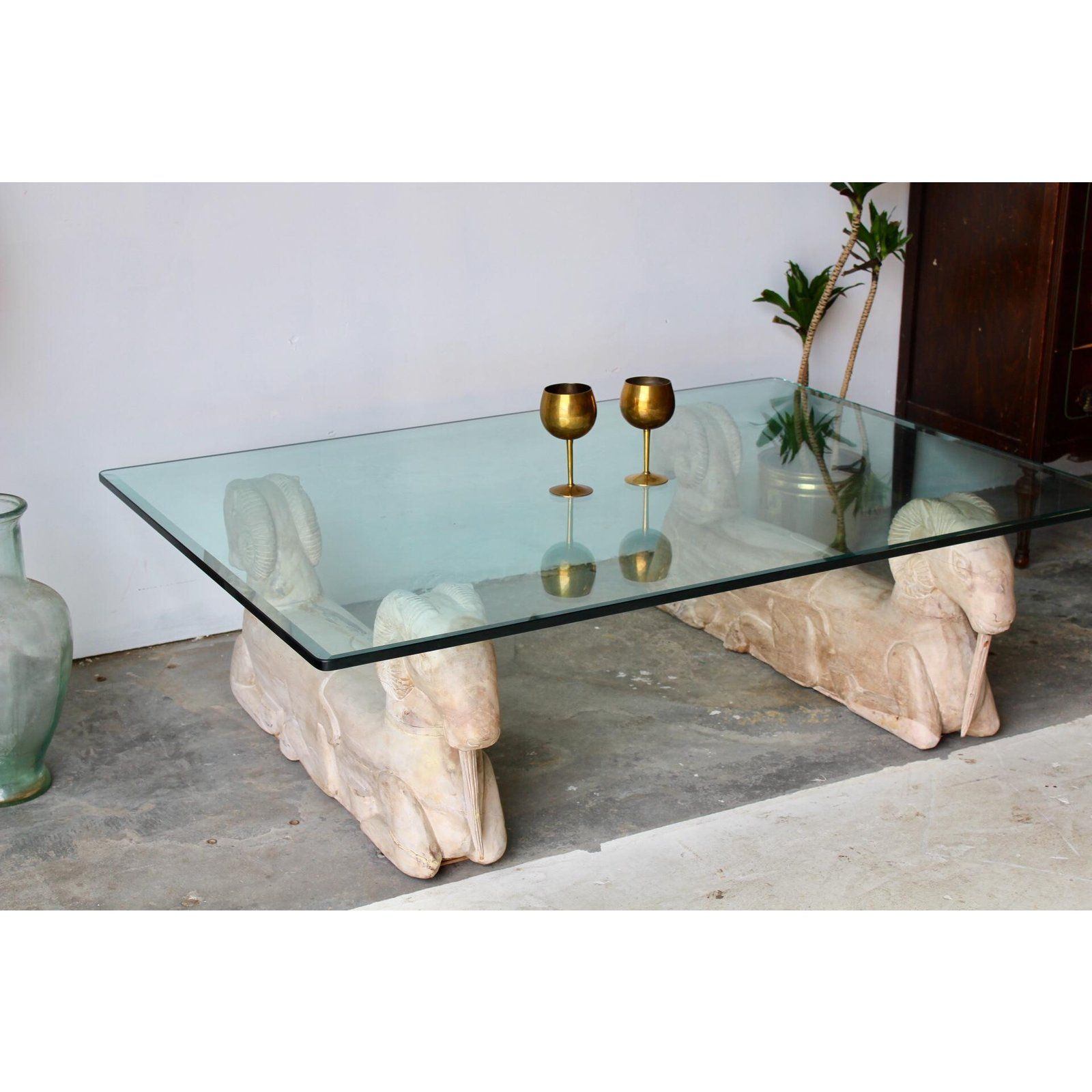 1950s Hollywood Regency Large Carved Wood Rams Glass Top Coffee Table Chairish Coffee Table Coffee Table Wood Coffee Table Rectangle [ 1600 x 1600 Pixel ]