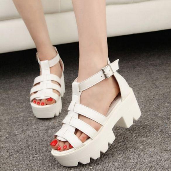 Gladiator Summer Women Chunky Platform Sandals High Heel Strap Open Toe  Sandals Shoes