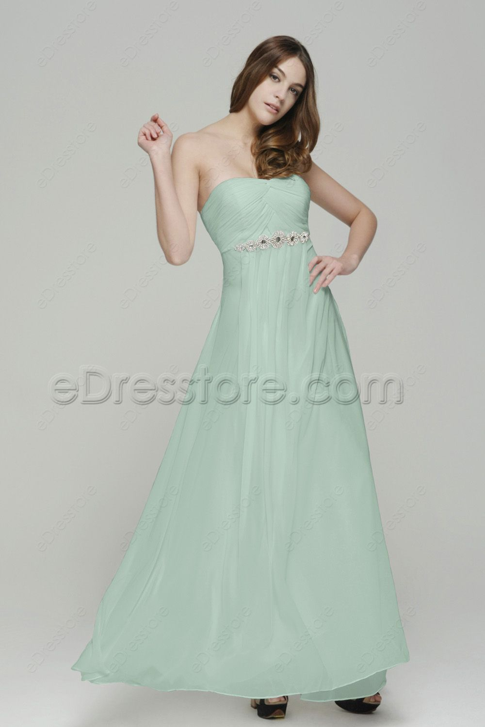 Strapless Pastel Green Long Prom Dresses with Crystals | Maternity ...