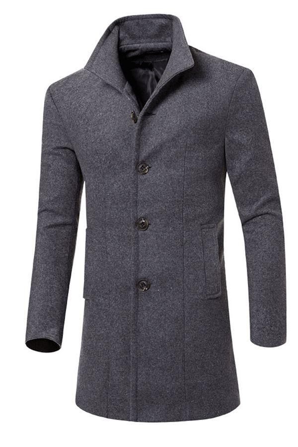 98761b89a403 Long Slim Plain Men s Woolen Trench Coat. Trench Coat coat fashion