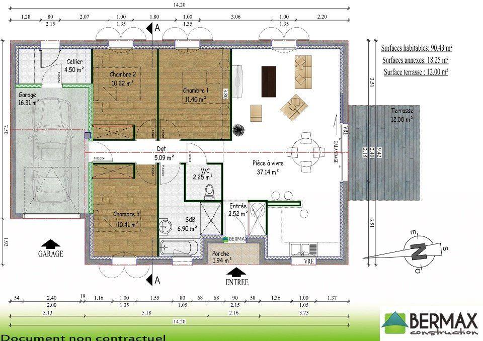 Maison Plain Pied 3 Chambres 90m2 1 Plan Maison Plain Pied 3 - plan maison une chambre