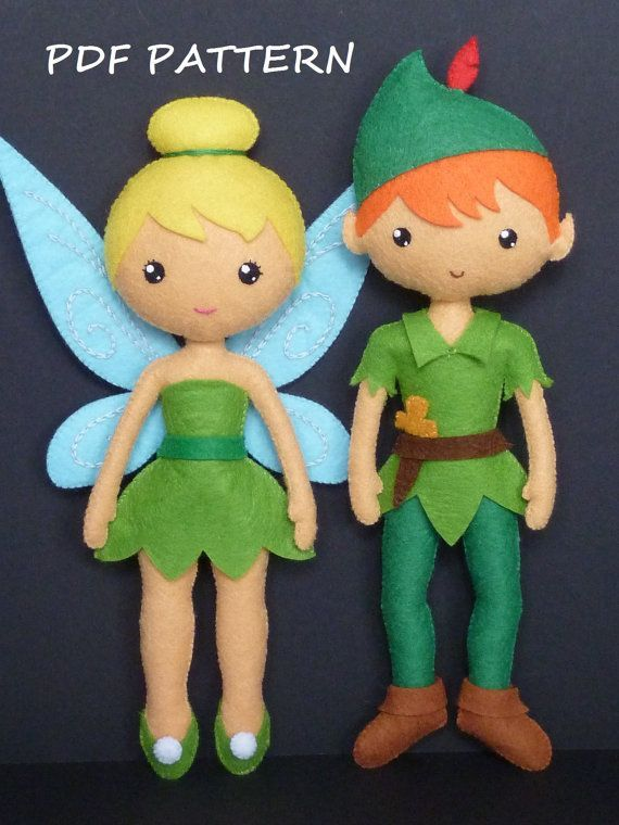 PDF sewing pattern to make a felt Fairy and a felt Peter Pan