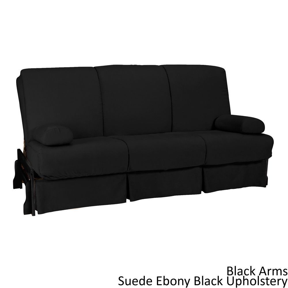 Epicfurnishings Boston Perfect Sit And Sleep Pillow Top Queen Size Sofa Bed Black Arms Suede Ebony Upholstery Leather