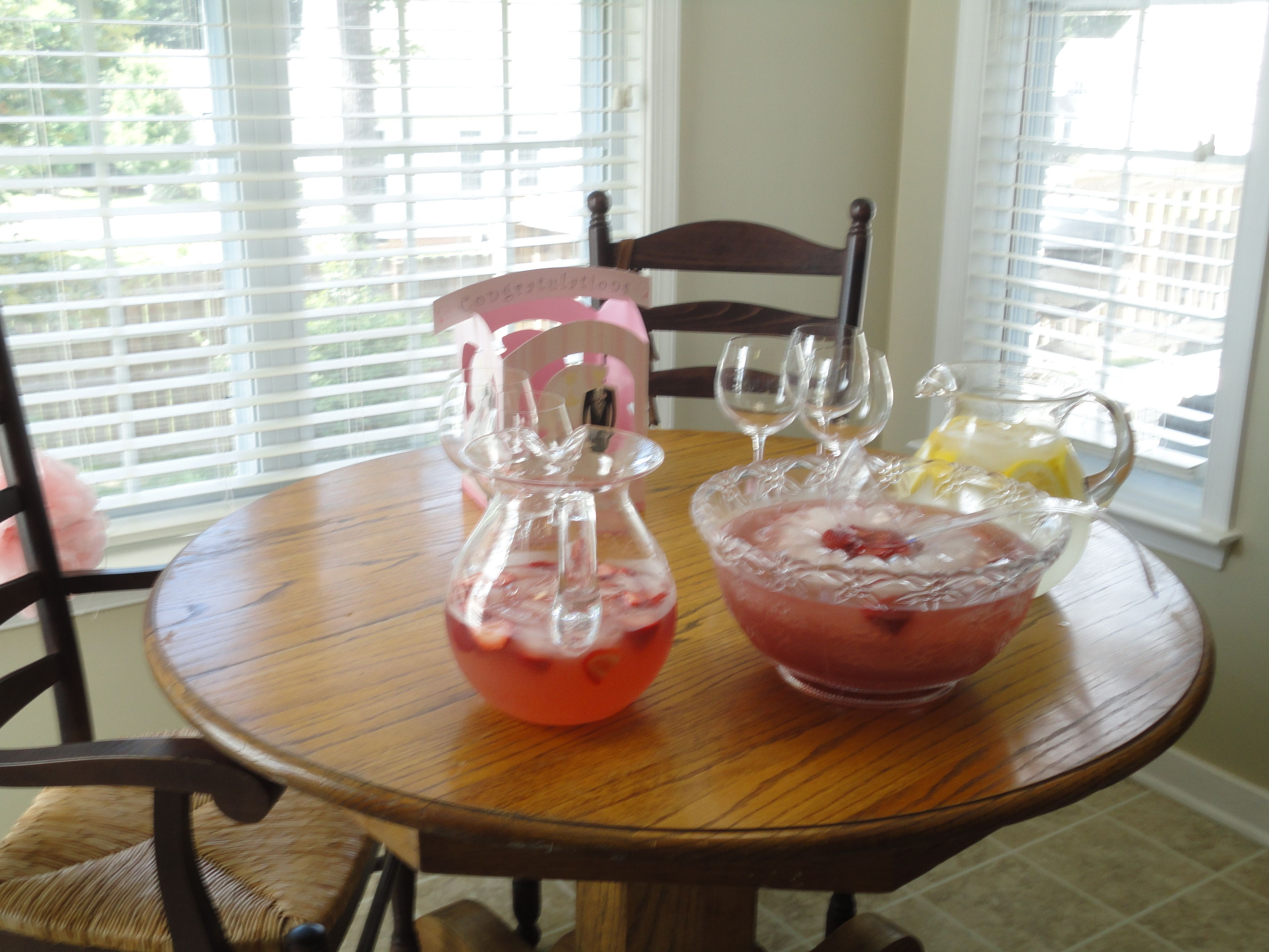 bridal shower beverages champagne punch w ice ring pink lemonade with strawberries