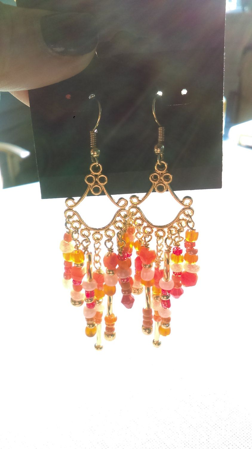 Coral colored gold chandelier earrings by rachelsoriginaldesns on coral colored gold chandelier earrings by rachelsoriginaldesns on etsy arubaitofo Images