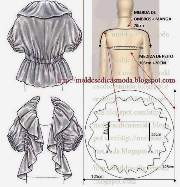 Moda e Dicas de Costura: BOLERO COM BABADO/FOLHO FÁCIL DE FAZER ...