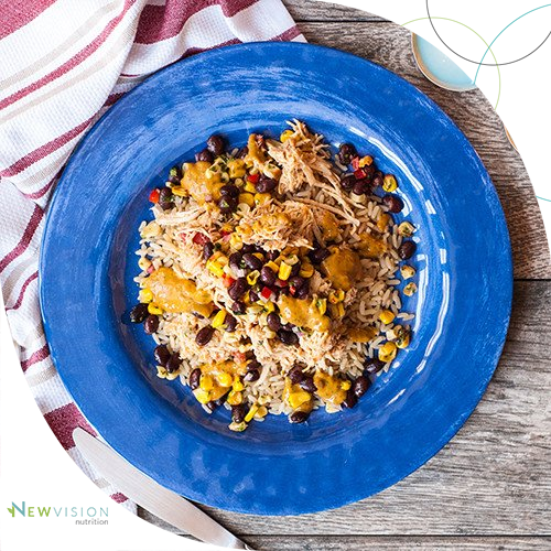 Perfectly seasoned shredded chicken over brown rice with roasted corn and black bean salsa with our signature Baja sauce.