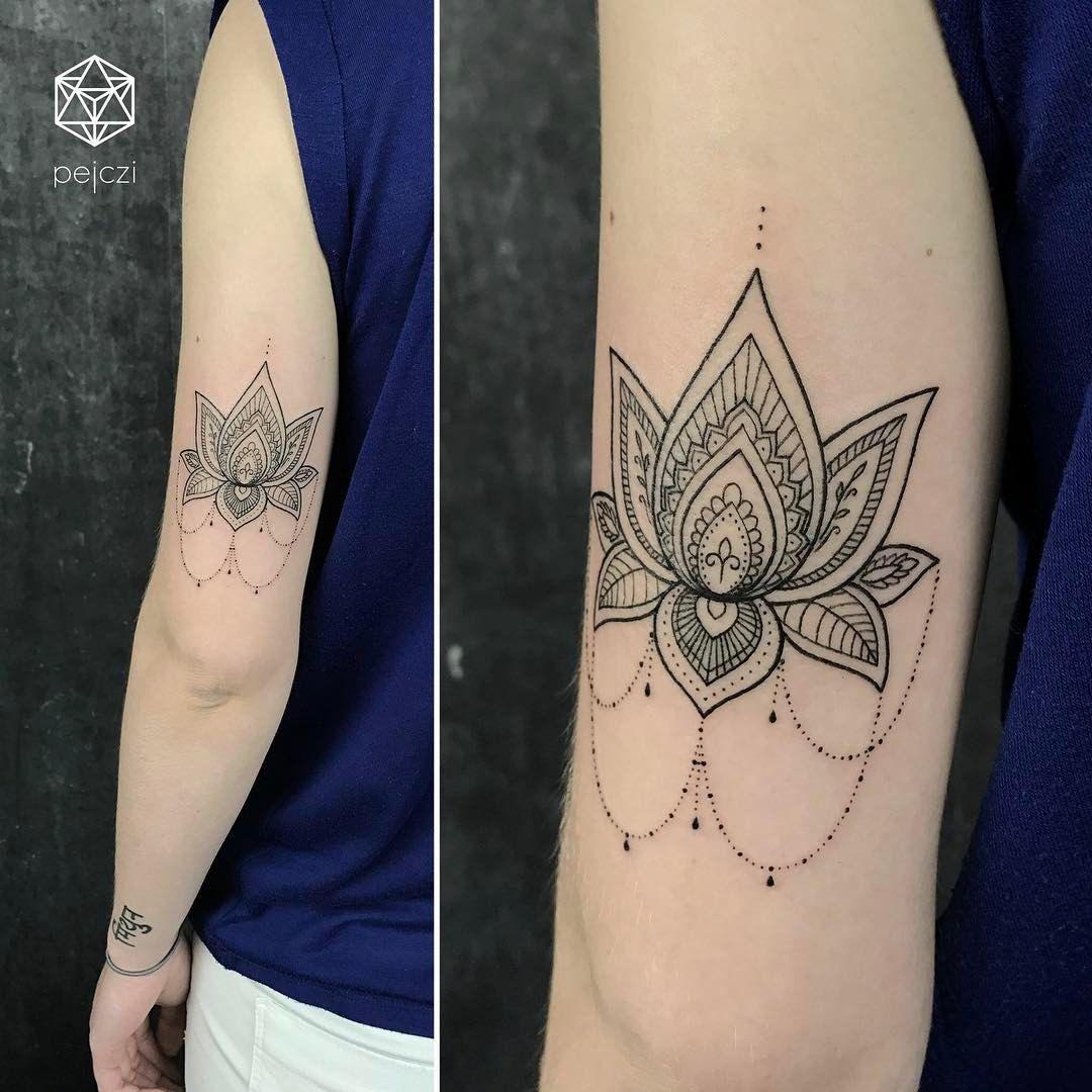 Geometric Lotus Flower Tattoo By Pejczi Polish Tattoo Artist