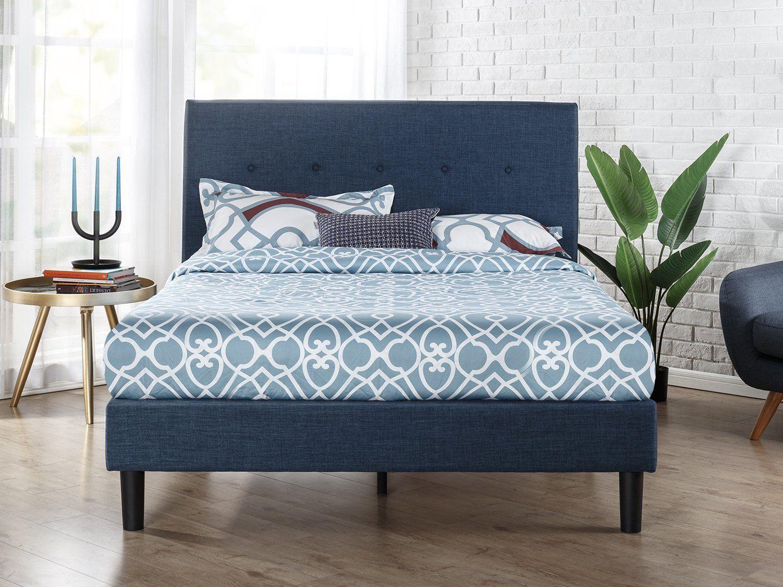 amazonsmile zinus upholstered navy button detailed platform bed