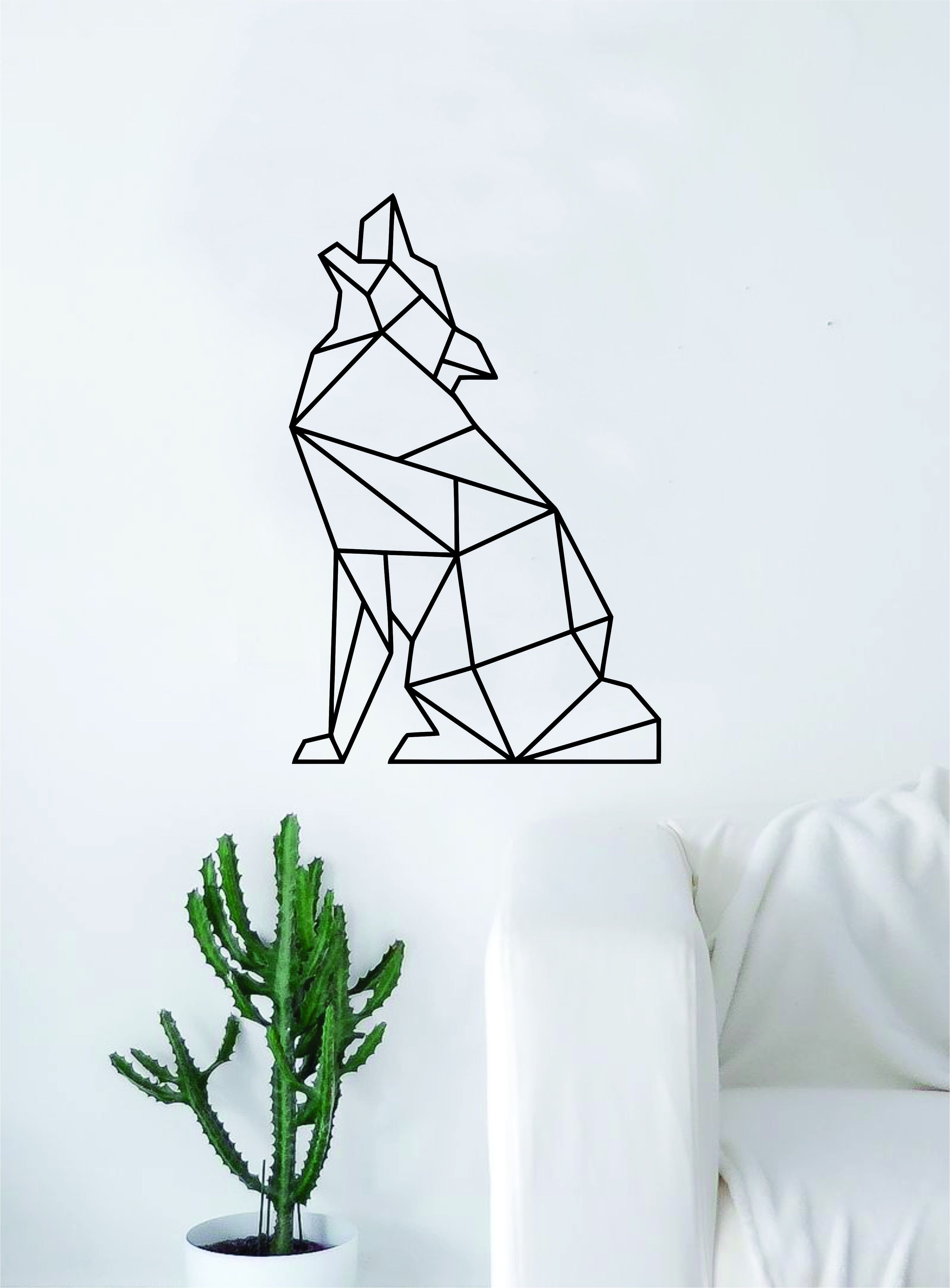 Geometric Wolf Howling Animal Design Decal Sticker Wall