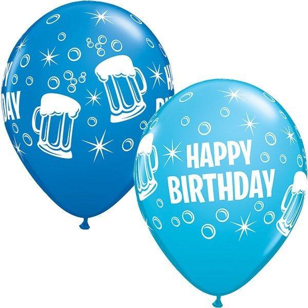 "Happy Birthday Beer Mugs 11"" Latex Balloons 25pk ..."