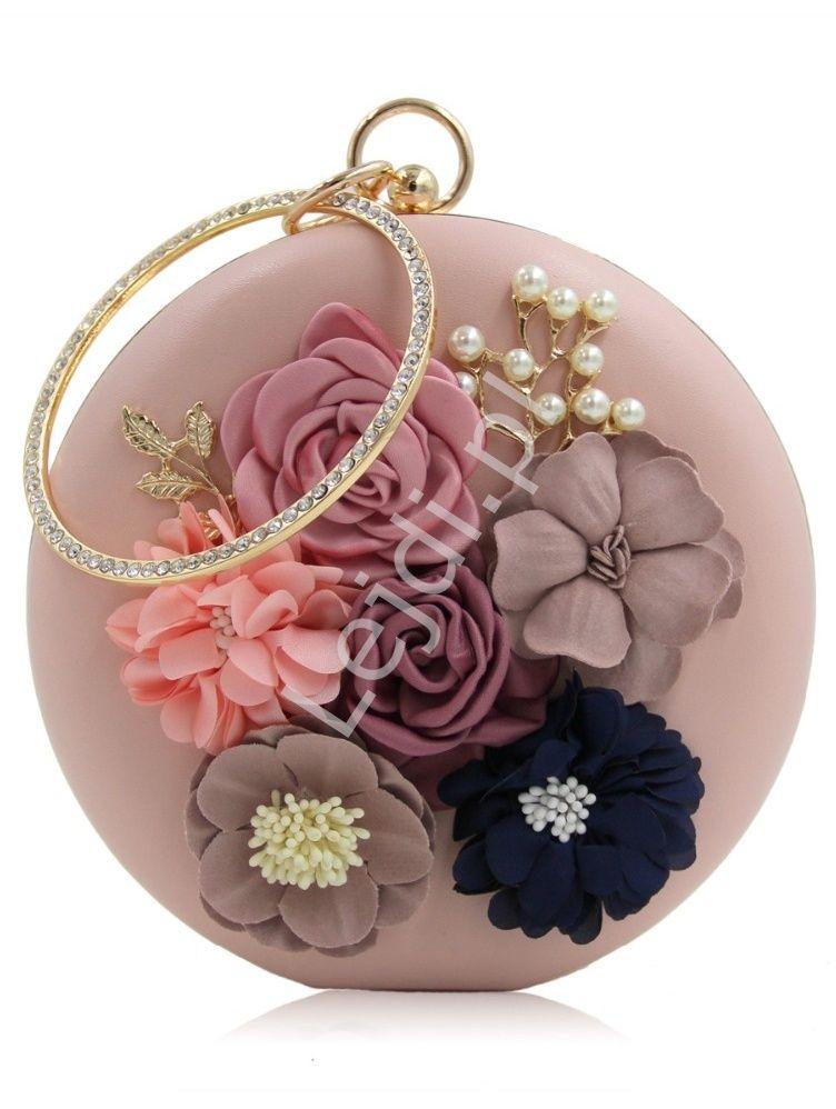 Unikatowa Okragla Torebka W Kolorze Purowego Rozu Z Kwiatami I Koralikami 3d Wedding Clutch Purse Fancy Clutch Purse Wedding Clutch