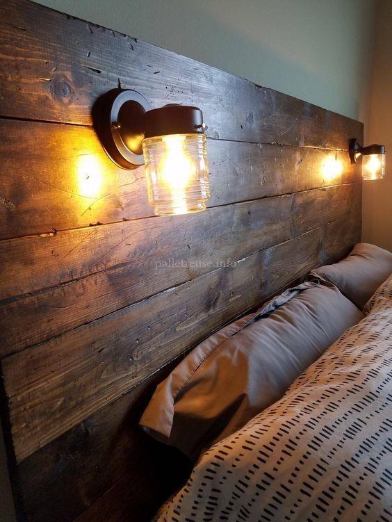 100 Diy Pallet Wood Headboard Project Ideas Pallet Reuse Pallet Wood Headboard Pallet Wood Headboard Diy Wood Headboard