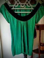 Anthropologie Sweetees Knit Tunic Top Blouse Emerald Green Black Velvet Neck L