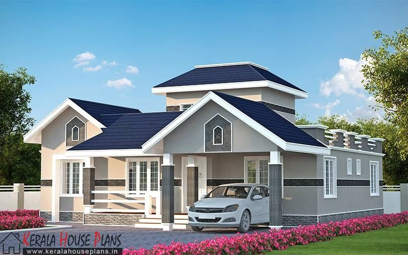 Three bedroom kerala model house elevation kerala house for Simple house elevation models