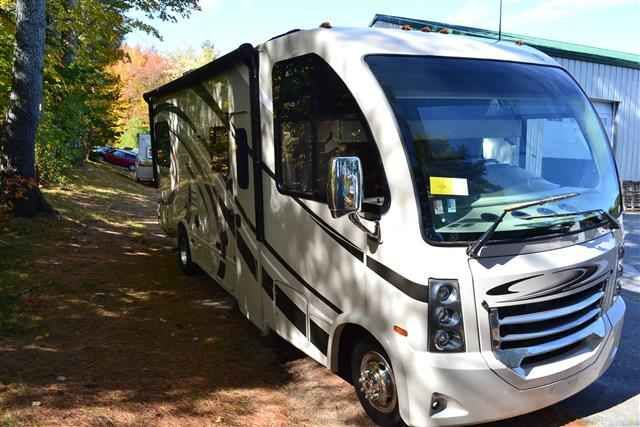 2016 New Thor Motor Coach VEGAS 25.2 Class A in New Hampshire NH.Recreational Vehicle, rv, 2016 THOR MOTOR COACH VEGAS25.2, 12V Attic Fan in Bedroom, 12V Attic Fan in Living Area, 15.0 BTU A/C, 32in TV in Bedroom, Cabinetry-Sydney Maple, Exterior 32in TV, Holding Tanks w/Heat Pads, Interior-Polished Pewter, Second Auxiliary Battery, Symphony Red,