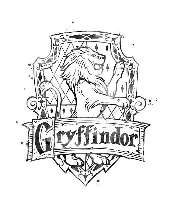 Gryffindor Crest Black and White Harry Potter Gifts ...