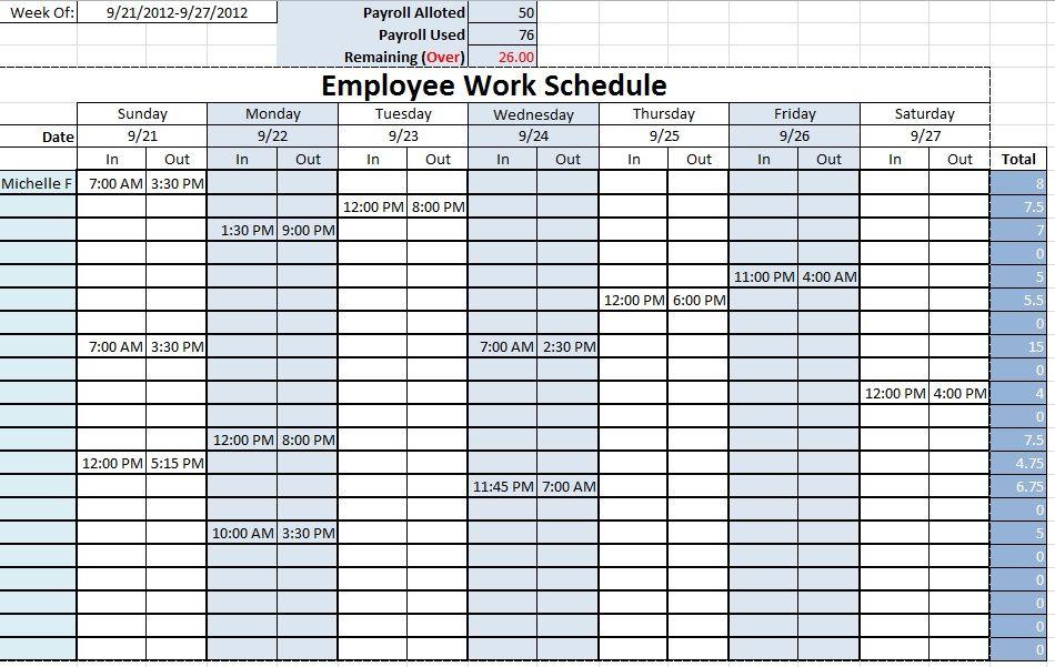Work Schedule Templates Free Downloads Download Links