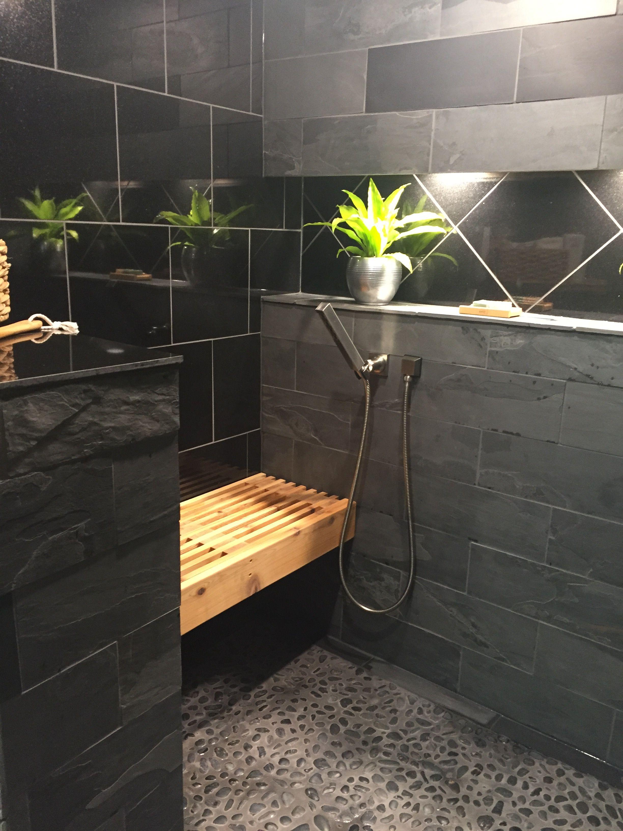 Black Slate Black Granite And Pebble Shower Floor Spa Like Shower Is Done Pebble Shower Floor Slate Bathroom Granite Shower