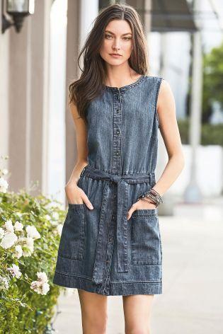 Buy Mid Blue Belted Denim Dress online today at Next: Israel