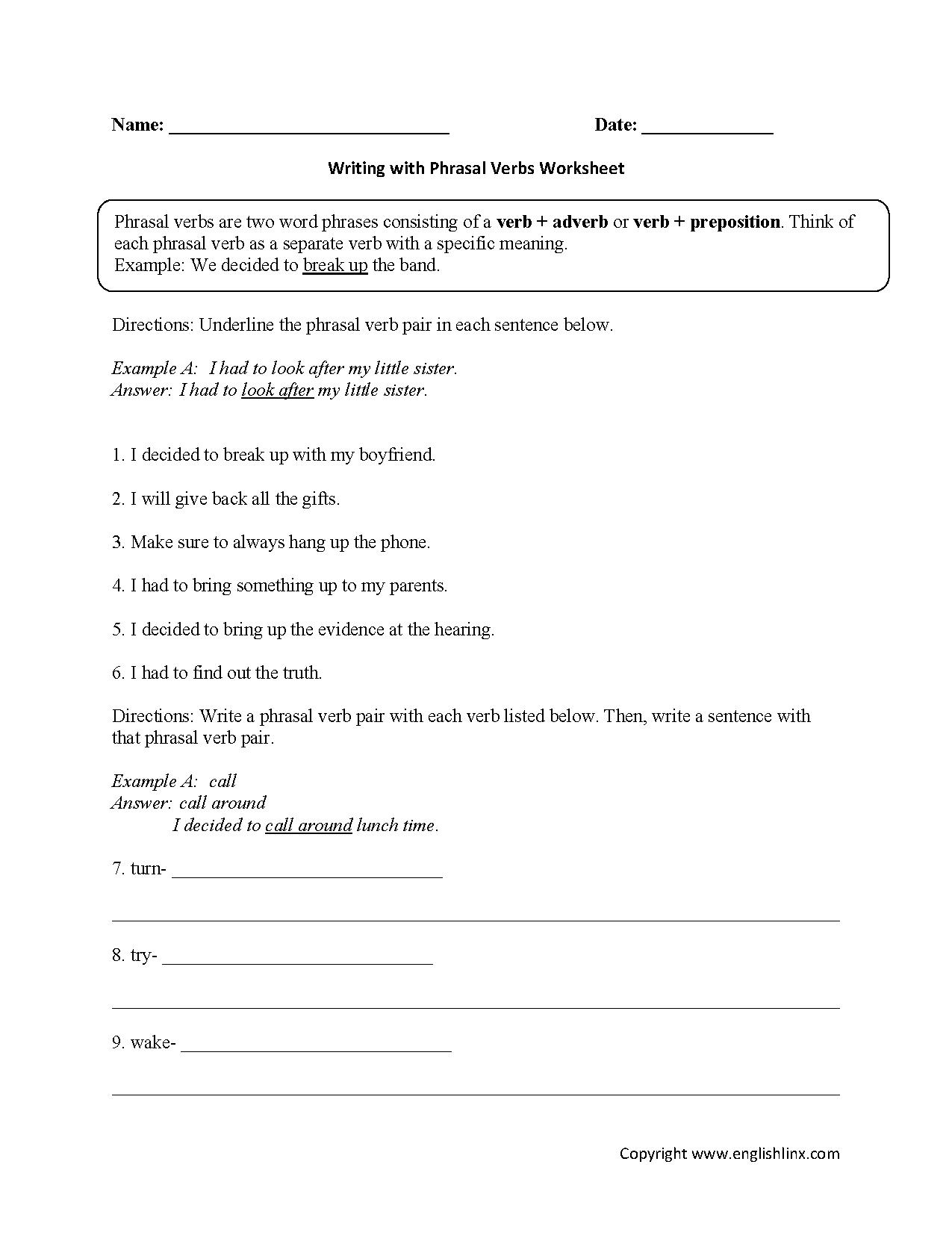 Writing With Phrasal Verb Worksheet