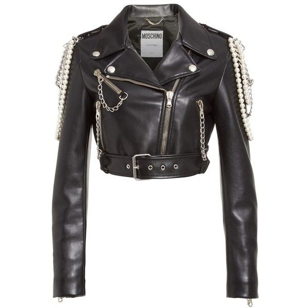 306273227980 Women's Moschino Chain & Faux Pearl Embellished Faux Leather Jacket  (€1.955) ❤ liked on Polyvore featuring outerwear, jackets, biker jacket, ...