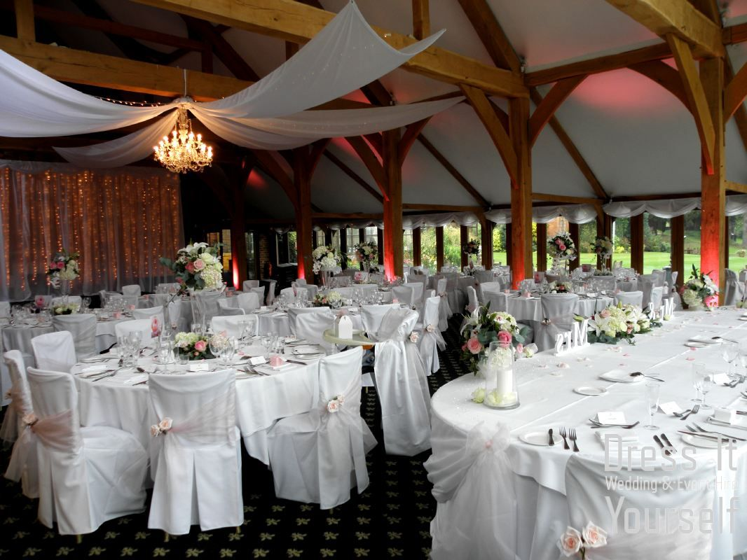 Wedding decoration ideas for hall  Brocket Golf Club  Oak Room  Wedding  Ideas for decorating