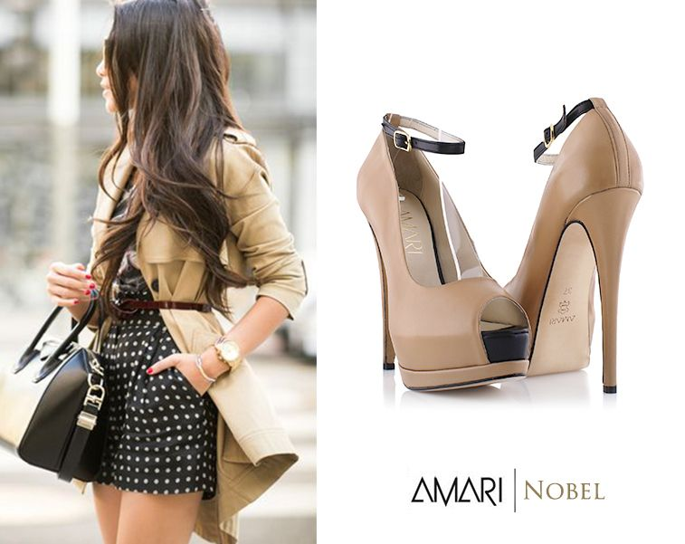 AMARI Nobel beige ankle strap pumps