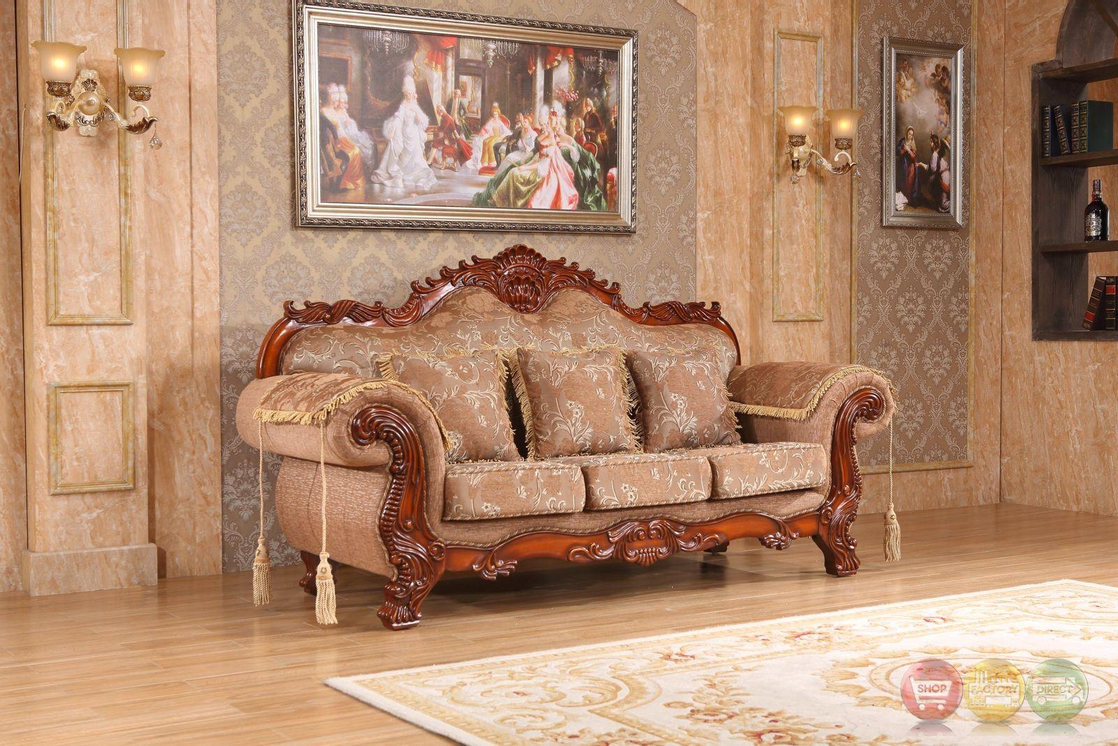 Verona Beige Floral Sofa With Ornate Cherry Frame Meridian