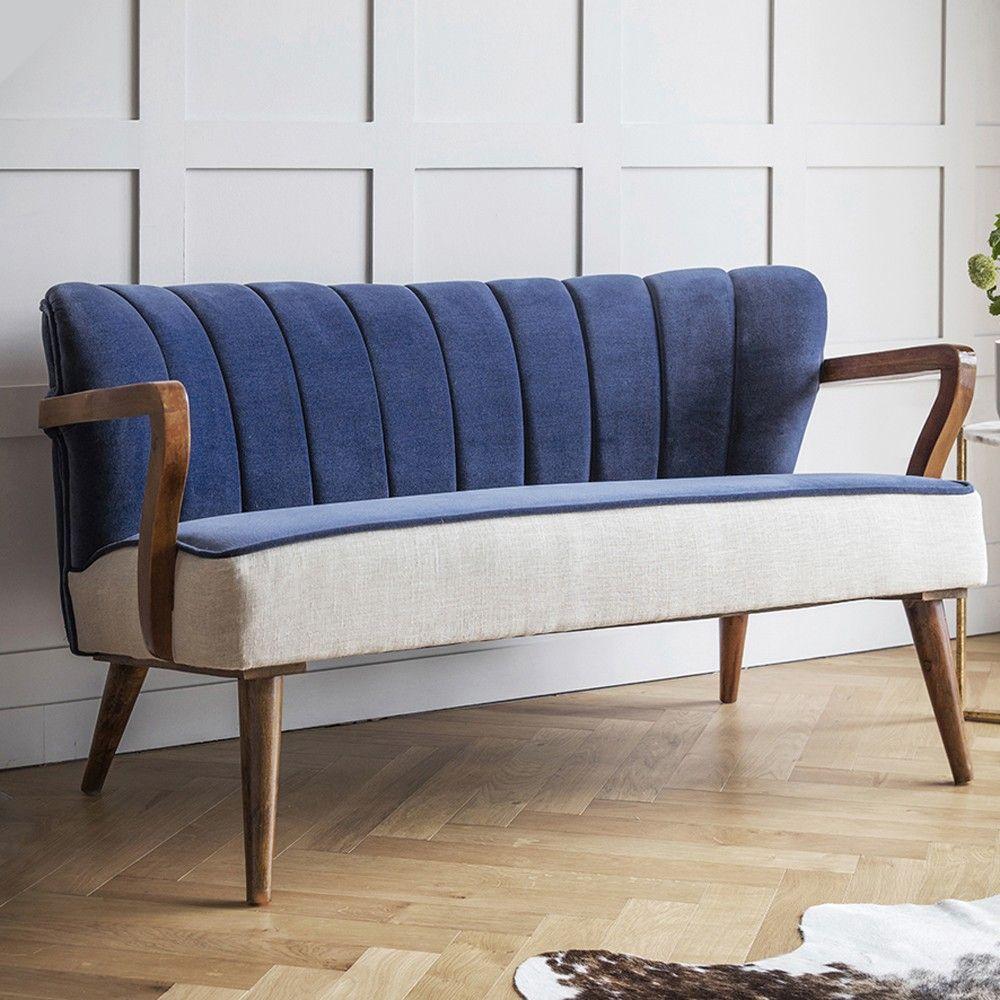 Tallulah 2 Seater Sofa In Blue Velvet And Linen Blue Sofa Chair Contemporary Sofa Diy Deck Furniture