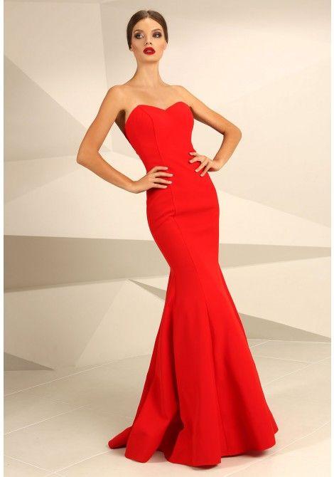 Nataliya Couture Natasha Strapless Fishtail Maxi Dress in Red ...