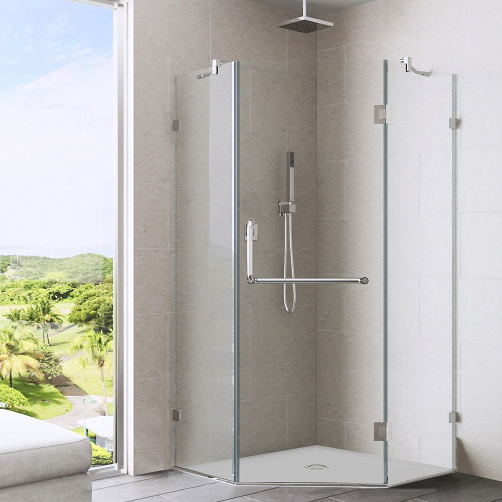 Vigo 38 x 38 Frameless Neo-angle Clear Shower Enclosure (Chrome ...