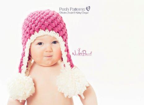 Crochet Pattern Puff Stitch Earflap Hat Crochet Pattern Crochet
