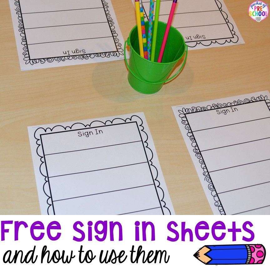 Free Daily Sign In Sheets For Your Classroom Pocket Of Preschool Preschool Sign In Preschool Names Sign In Sheet