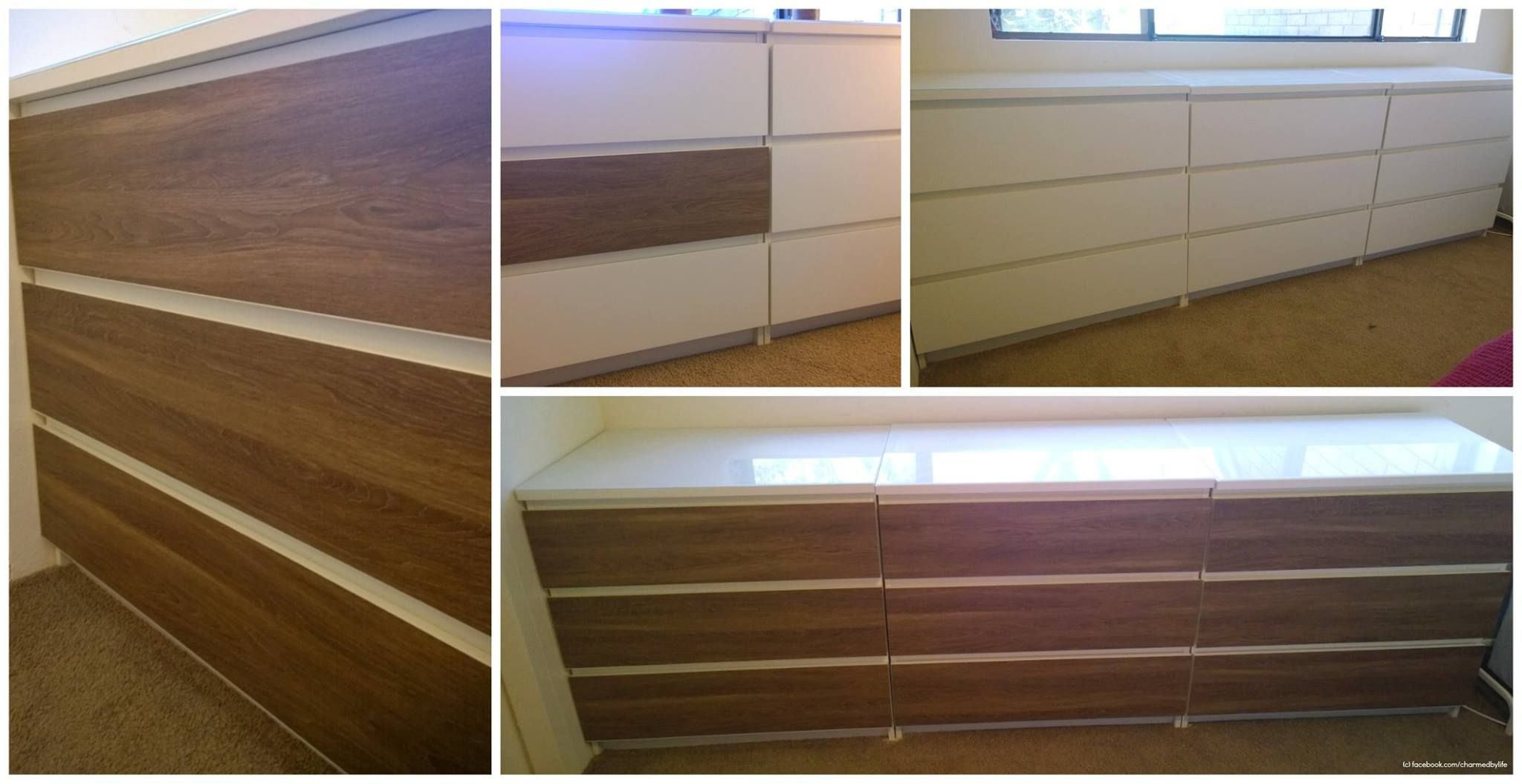 Brilliant display of Limed Oak PANYL on a series of IKEA MALM 3-drawer chests, courtesy of Jacqueline Boyle.