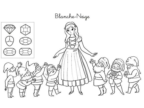 Coloriages de contes blanche neige et les sept nains ayk world pinterest conte blanche - Coloriage 7 nains ...