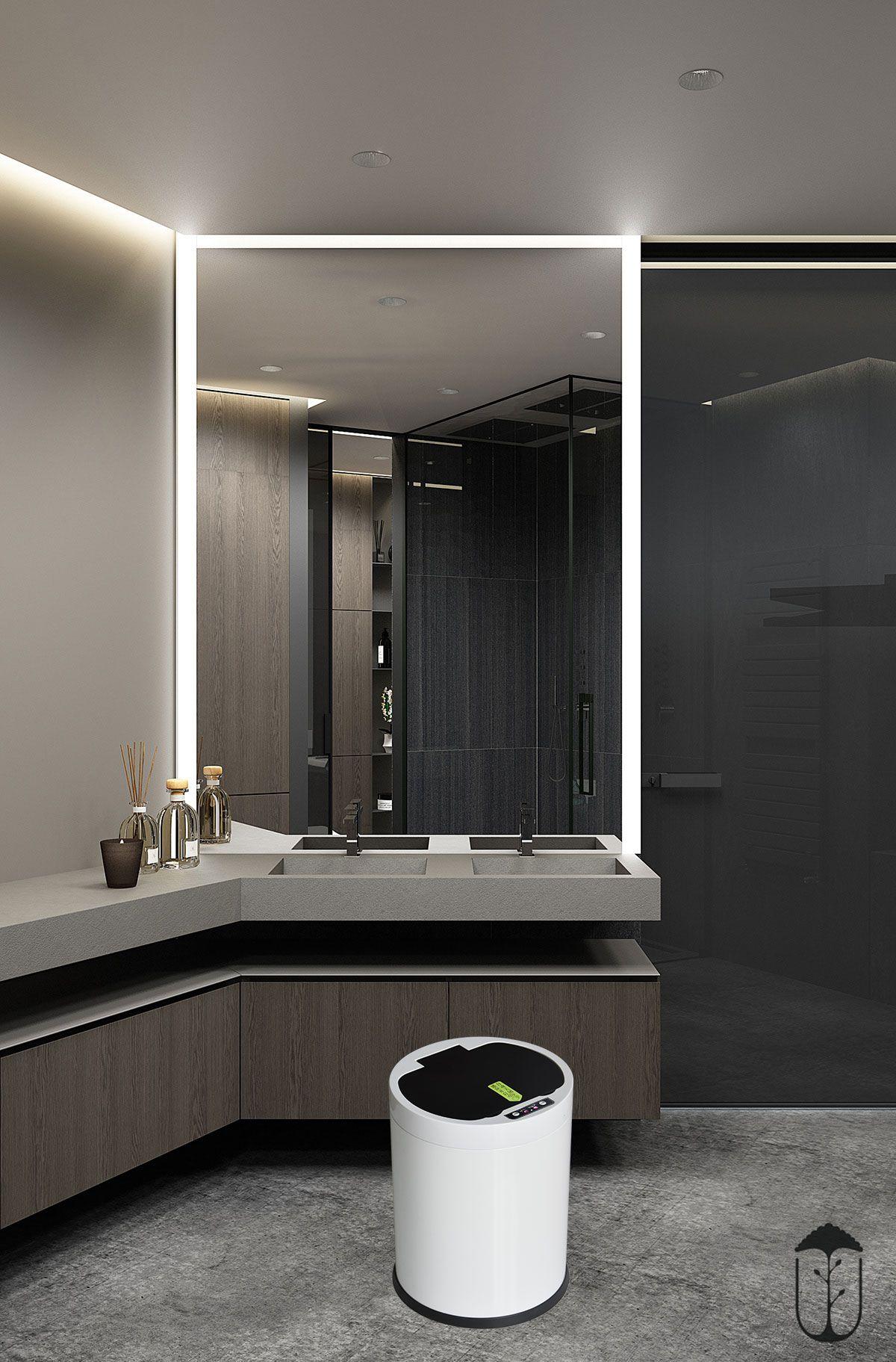 Sensor Trash Can For Kitchens Elegant Bathroom Restroom Design Master Bathroom Design