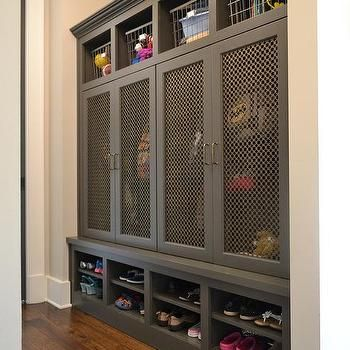 Gray Mudroom Lockers With Metal Grill Mesh Doors Laundry